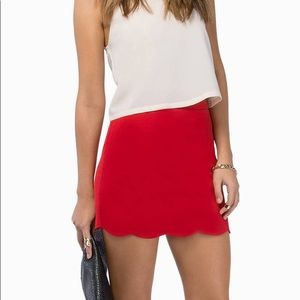 Unworn Red Scallop Skirt from Tobi